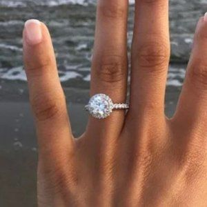 White Sapphire Silver Plated Diamond Ring